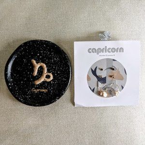 Capricorn Earrings and Plate Gift Bundle NWT